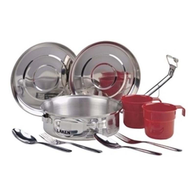 8818 Набор посуды (1.3 л, крышка-миска, чашка, ложка, вилка - по 2 шт) стальной